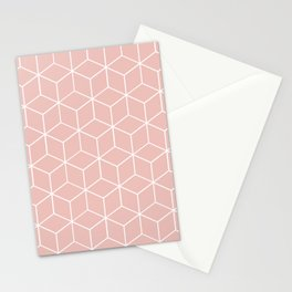 Cube Geometric 03 Pink Stationery Cards