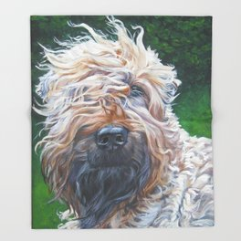 Soft-coated Wheaten Terrier from an original painting by L.A.Shepard Throw Blanket