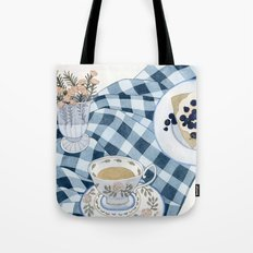 Still life with blueberry pie Tote Bag