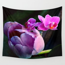 Purple Tulip With Baby Moths Wall Tapestry