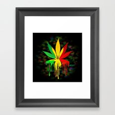 Marijuana Leaf Rasta Colors Dripping Paint Framed Art Print