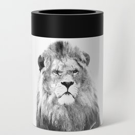 Black and white lion animal portrait Can Cooler