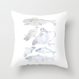 happy sea animals watercolor Throw Pillow
