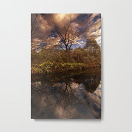 Canal side Reflections Metal Print