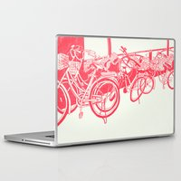 bicycles Laptop & iPad Skins featuring On Paper: Tokyo Bicycles by Anton Marrast