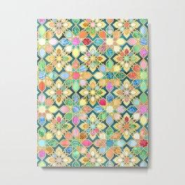 Gilded Moroccan Mosaic Tiles Metal Print