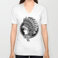 headdress V-neck T-shirts featuring Headdress by BIOWORKZ