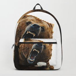 """ Grizzly Mornings "" give that bear some coffee Backpack"