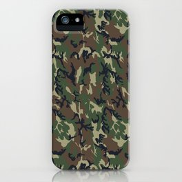 Woodland Forest Camouflage Pattern iPhone Case