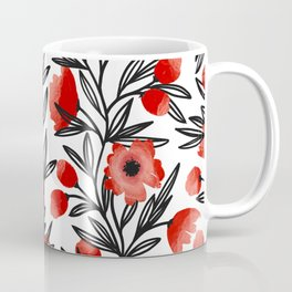 Red Flower Vine Pattern // Valentines Day Florals // Home and Office Decorations Coffee Mug