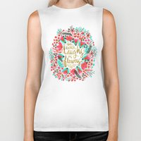 waldo Biker Tanks featuring The Earth Laughs in Flowers – Pink & Gold by Cat Coquillette