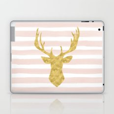 Pink Watercolor Stripes and Gold Deer Laptop & iPad Skin