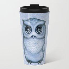"""The Little Owl"" by Amber Marine ~ (Blueberry Version) Graphite & Ink Illustration, (Copyright 2016) Travel Mug"