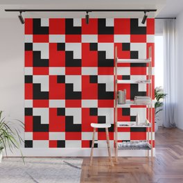 Red black step pattern Wall Mural