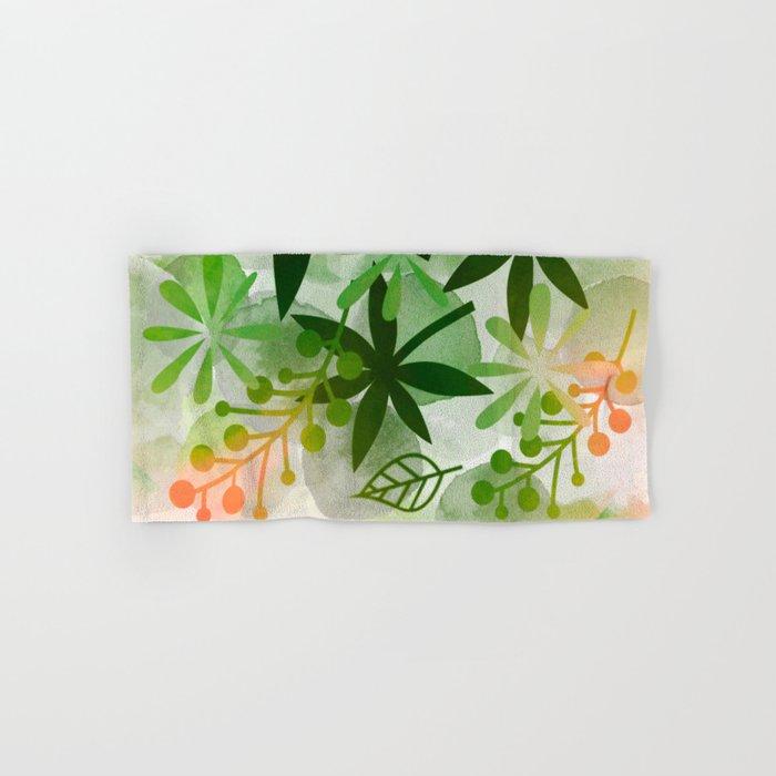 Peaches and Greens Hand & Bath Towel
