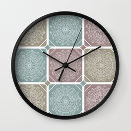 Light red, blue and yellow colored tiles with white mandalas and lines pattern Wall Clock