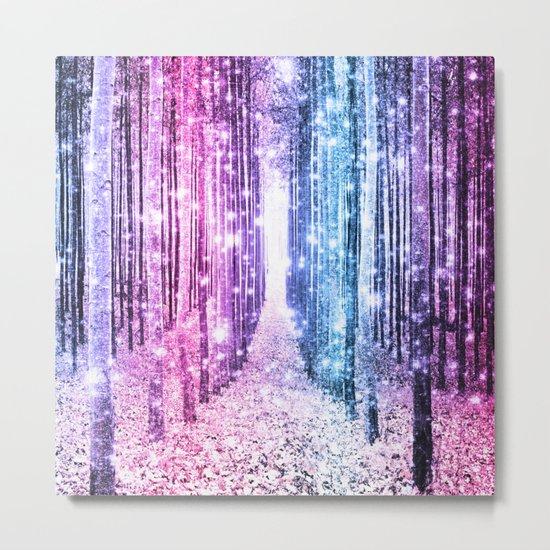 Magical Forest : Pastel Pink Lavender Aqua Periwinkle Ombre Metal Print