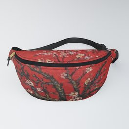 Almond Tree in Blossom - Red Motif by Vincent van Gogh Fanny Pack