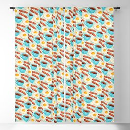 Coffee Bacon & Eggs Pattern - Blue Check Blackout Curtain
