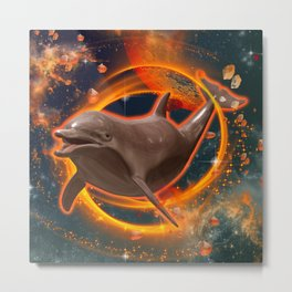 Funny dolphin  Metal Print
