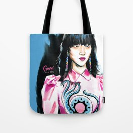 fashion #7. portrait of a dark-haired woman in pink satin dress with a dragon Tote Bag