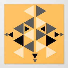 minimalist yellow black white grey southwestern tribal arrow pattern geometric  Canvas Print