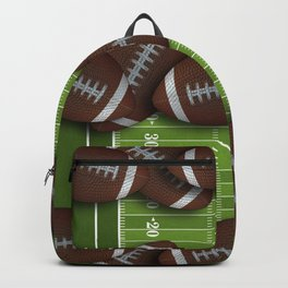 Football Field with Rows of Footballs Backpack