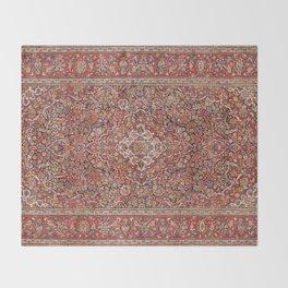 Kashan  Antique Persian Rug Throw Blanket