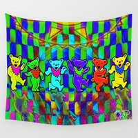 grateful dead Wall Tapestries featuring Grateful Dead Dancing Bears Colorful Psychedelic Characters #2 by CAP Artwork & Design