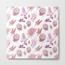 Beautiful Pink Australian Native Floral Pattern Metal Print