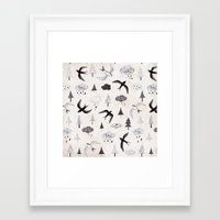 swallow Framed Art Prints featuring swallow by Hui_Yuan-Chang