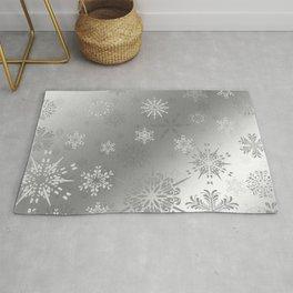 Silver Snowflakes Rug