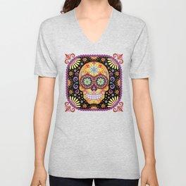Sugar Skull Art by Thaneeya McArdle - Viva Unisex V-Neck