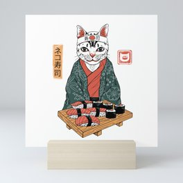 Neko Sushi Bar White Mini Art Print