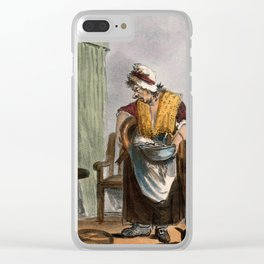 A dishevelled nurse with her disgruntled patient. Coloured lithograph by W. Hunt. Clear iPhone Case