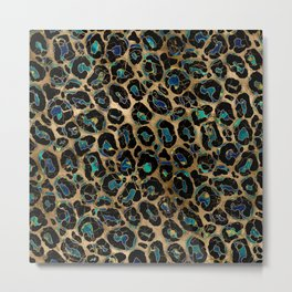 Leopard Faux Fur Texture Marble and gold Metal Print