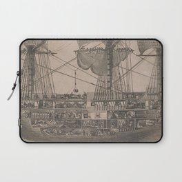 Vintage Historical American Battleship Diagram (1854) Laptop Sleeve