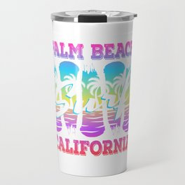 Here's A Great 80's design A Colorful 80's Design Saying Palm Beach Surf California T-shirt Design Travel Mug