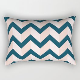 Blue and Shades of Pink Chevron Rectangular Pillow