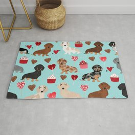 Dachsund dachsie doxie valentines day valentine hearts love cupcakes cute dog gifts Rug