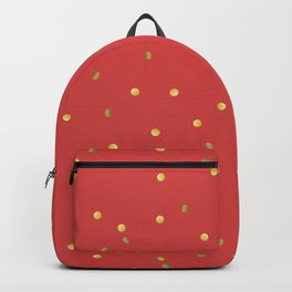 Gold Confetti on Red Backpack