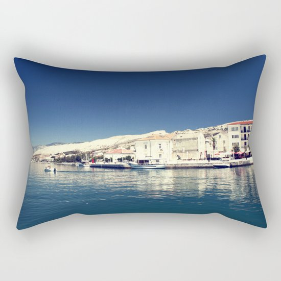 White and dark blue Rectangular Pillow