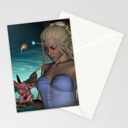 Unicorn women with funny little unicorn piglet Stationery Cards