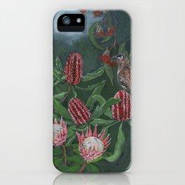 Australian Wattlebird amongst Banksia, Protea Flowers and Eucalypts iPhone Case