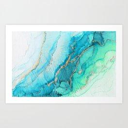 Turquoise Aqua Gold Tide Art Print