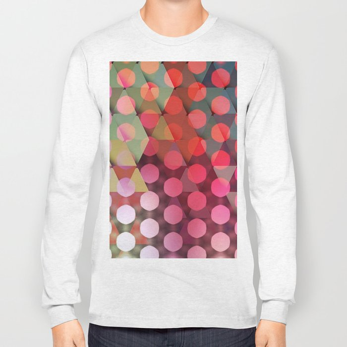 Circles on Triangles Pink Long Sleeve T-shirt