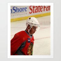 blackhawks Art Prints featuring jonathan toews // chicago blackhawks by Hattie Trott