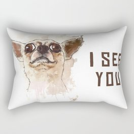 Funny Chihuahua illustration, I see you Rectangular Pillow