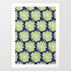 Lime Daisy on Blue Art Print