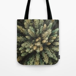 pine tree aerial view Tote Bag